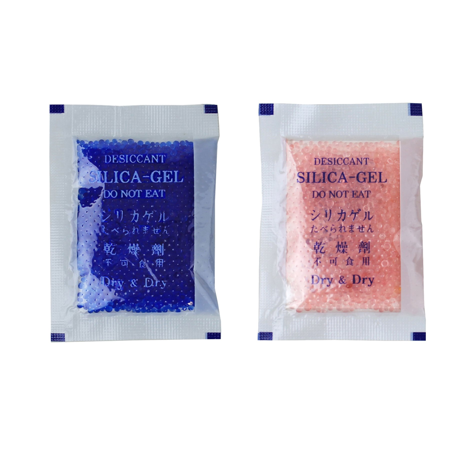 Dry & Dry 10 Gram [100 Packets] Premium Blue Indicating(Blue to Pink) Silica Gel Packets Desiccant Dehumidifier - Rechargeable Silica Packets for Moisture