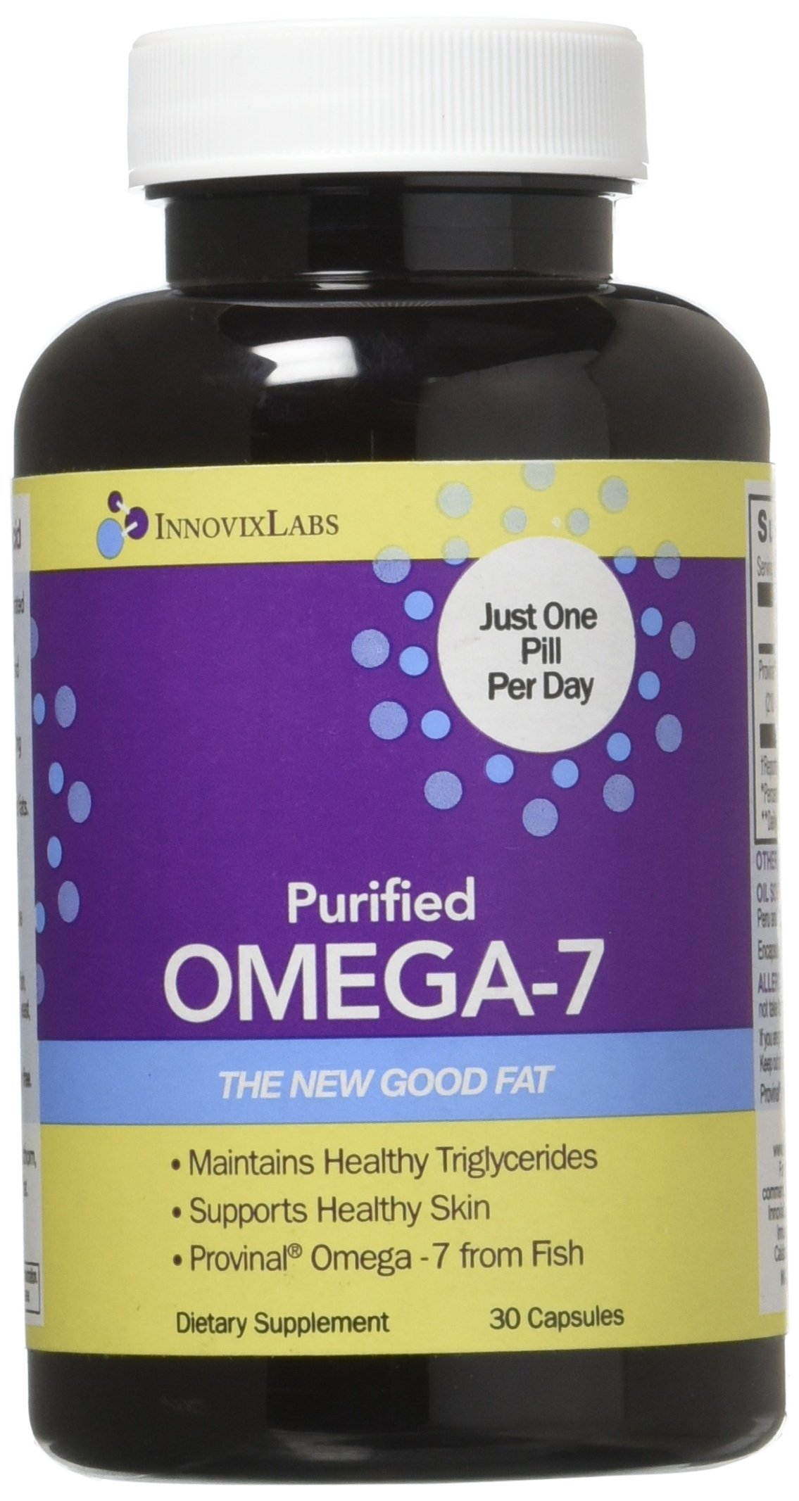 Purified OMEGA 7 (by InnovixLabs). The Healthy Fat in Fish and Macadamia. 210 mg Palmitoleic Acid Triglyceride-form Omega-7 per Pill. 30 Capsules (1 Month Supply).