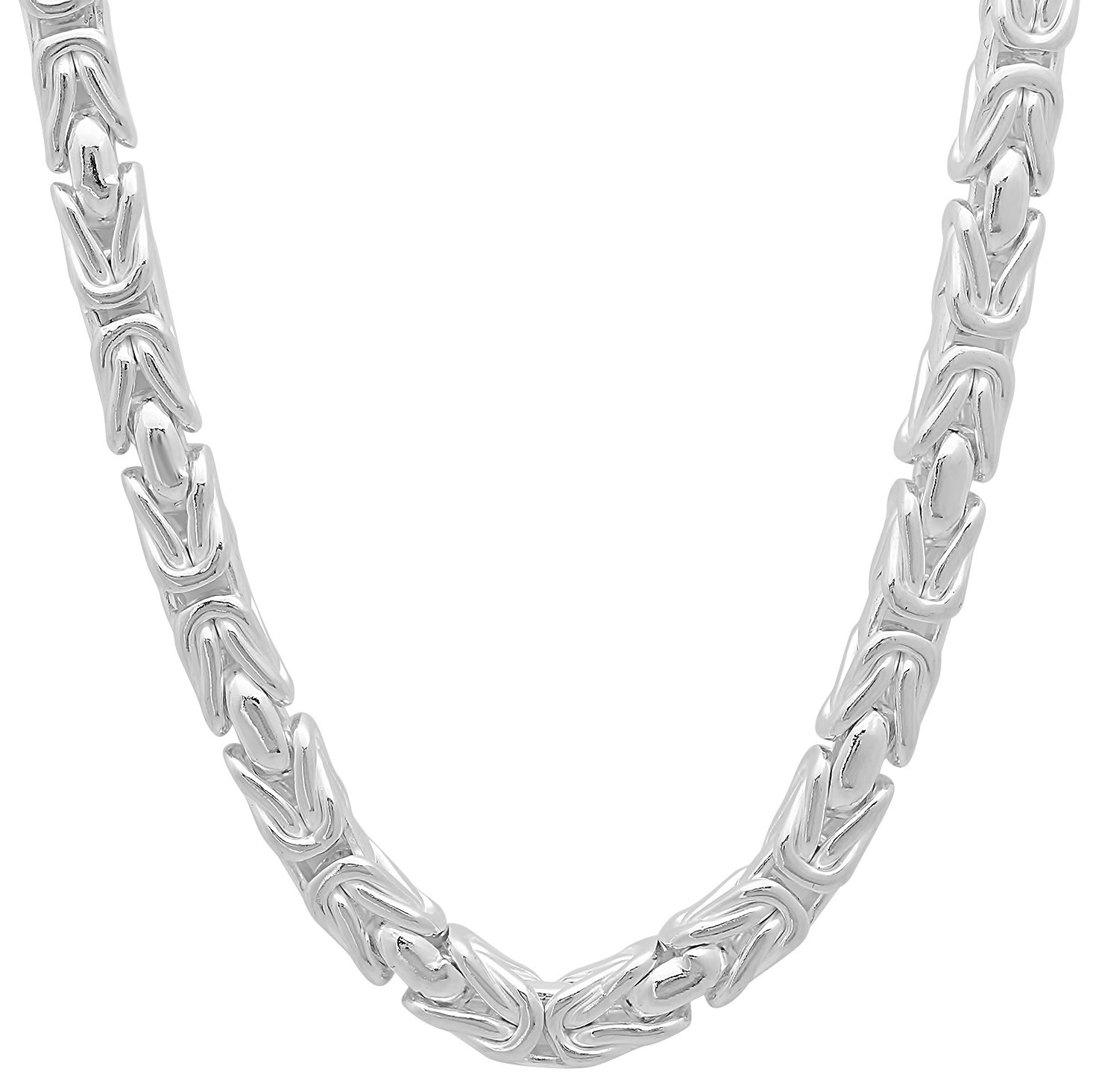 5mm 925 Sterling Silver Nickel-Free Boxed Byzantine Link Italian Chain, 28'' + Bonus Polishing Cloth