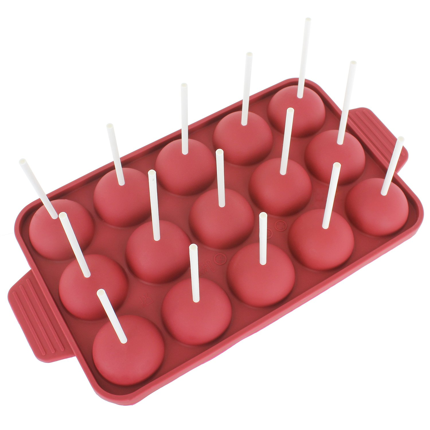 Freshware CB-121RD 15-Cavity Silicone Mold for Cake Pop, Hard Candy, Lollipop and Party Cupcake with 24-count Paper Sticks, Recipe Included