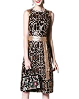 GBBTR Fashion Womens Sleeveless Vest Vintage Sexy Leopard Noble Sequined Dress