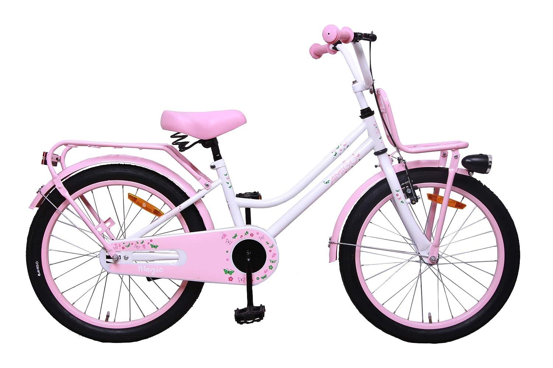 20 Inch Kids bike White//Pink AMIGO Magic With front rack and coaster brake Girls