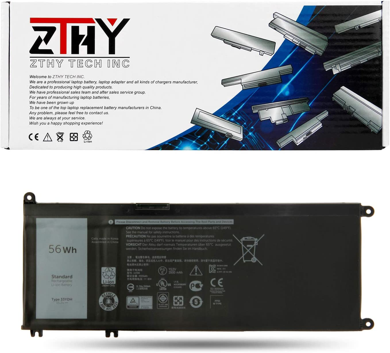 ZTHY 33YDH Laptop Battery for Dell Inspiron 15 7577 17 7000 7773 7778 7786 7779 2in1 G3 15 3579 G3 17 3779 G5 15 5587 G7 15 7588 Latitude 13 3380 14 3490 15 3590 3580 PVHT1 56Wh 4-Cell 15.2V 3500mAh