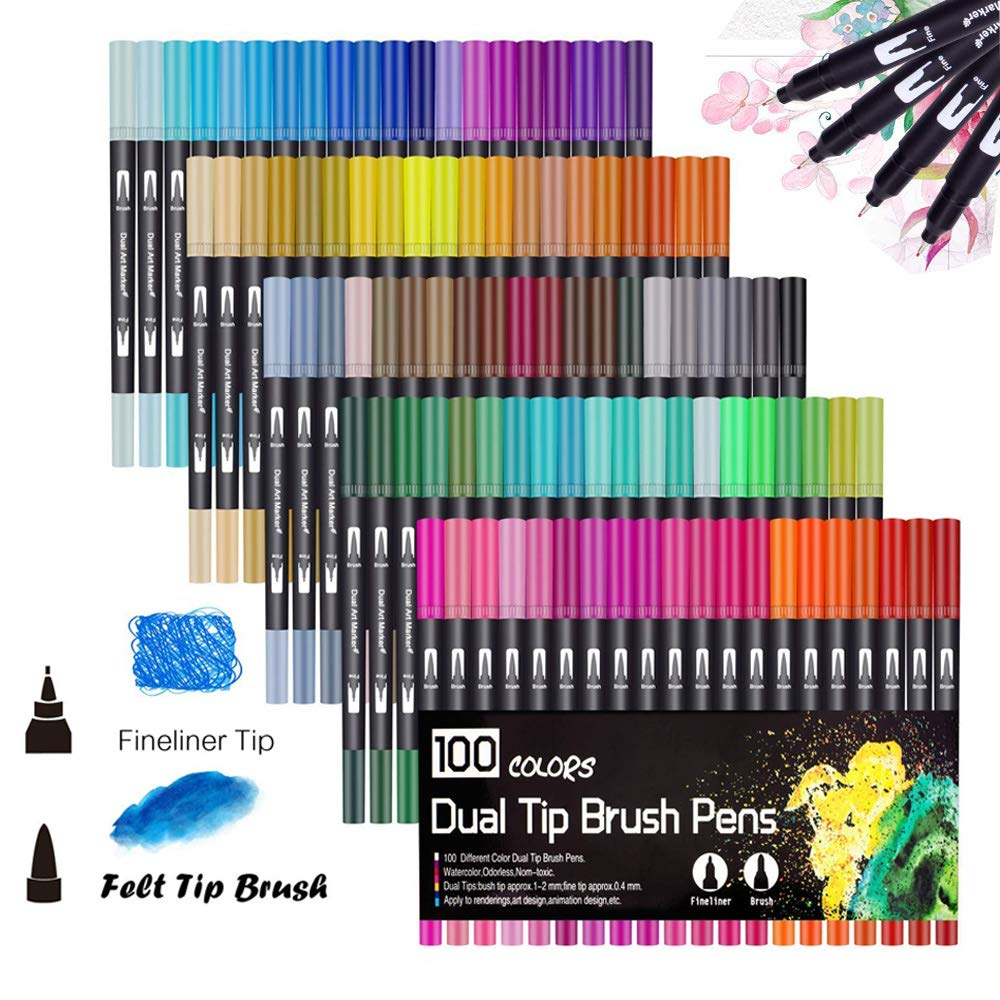 100 Colors Dual Tip Brush Pens Highlighter Art Markers 0.4mm Fine Liners & Brush Tip Watercolor Pen Set for Adult and Kids Coloring Books Bullet Journal, Calligraphy, Hand Lettering, Note T HO-100B