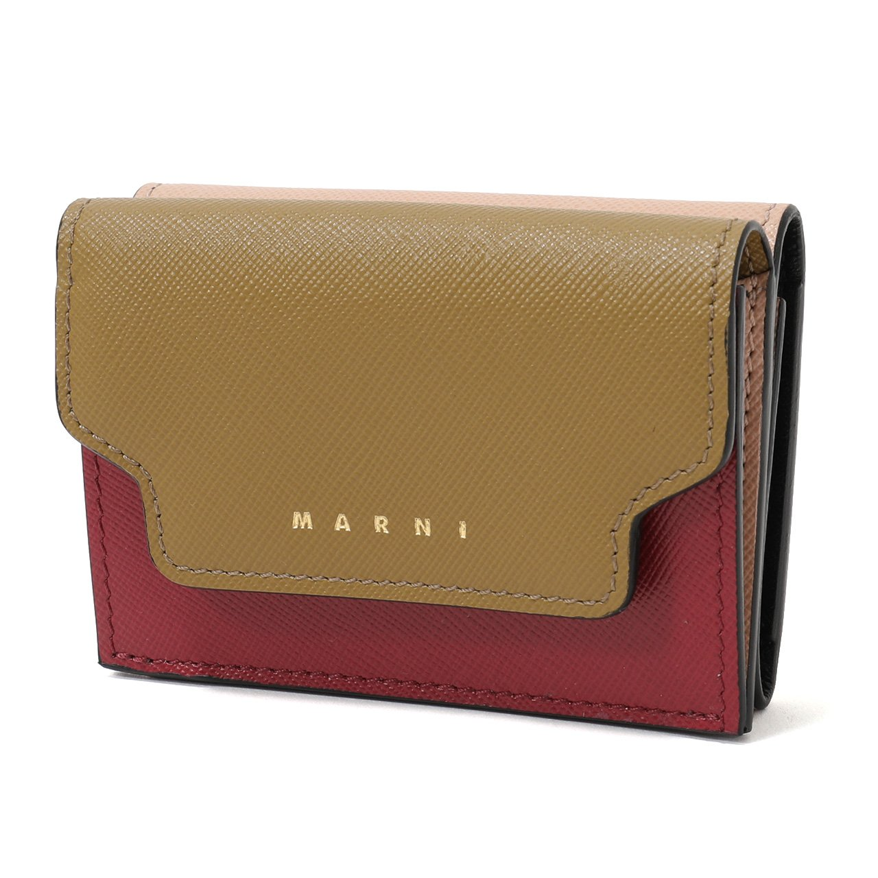 MARNI マルニ PFMOW02U09 LV520 レザー 三つ折り財布 ミニ財布 スモール 豆財布 カラーZ105N/THYME+CHERRY+PINKSAND [並行輸入品] B07CMWKY5G