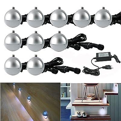 10x LED Spot Forme de Demi-Lune pour Perron -Diamètre 35mm IP65 0.4W - Lampe Eclairage Chemin Perron Escalier, Blanc Froid