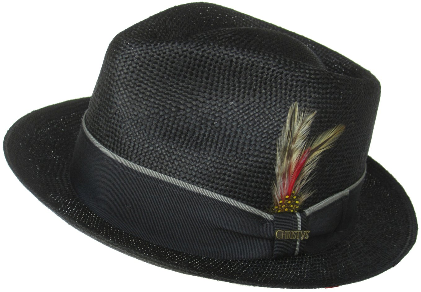 Christys Made in USA Bao Straw Fedora (Black, XL)
