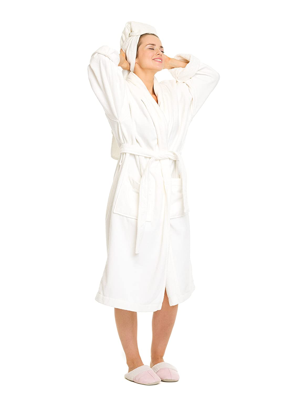 OrganicTextiles Velour Bathrobe, 100% GOTS Certified Organic Cotton, Soft, Plush, Absorbent - Women's Small, White