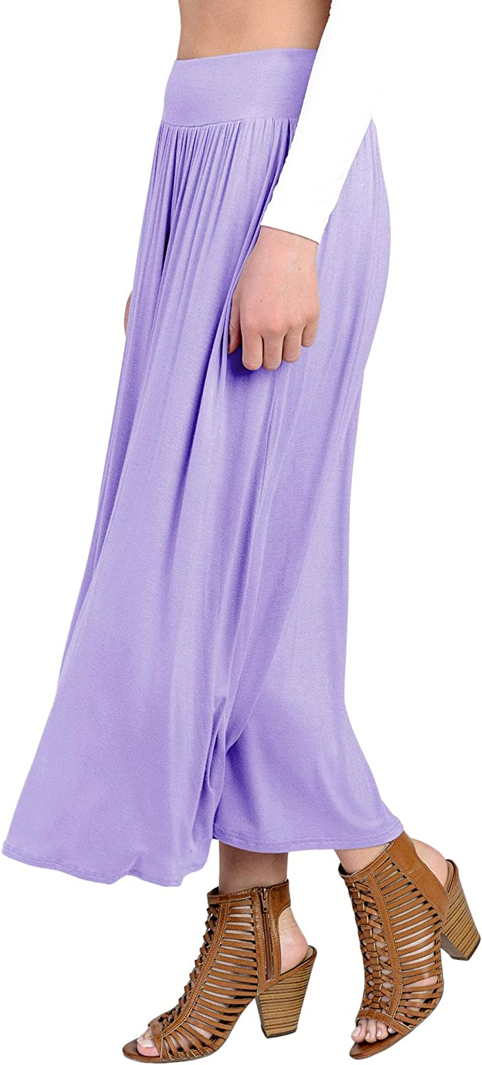 Fashion California FACA Womens High Waist Shirring Maxi Skirt Ankle Length with Pockets S-XXXL