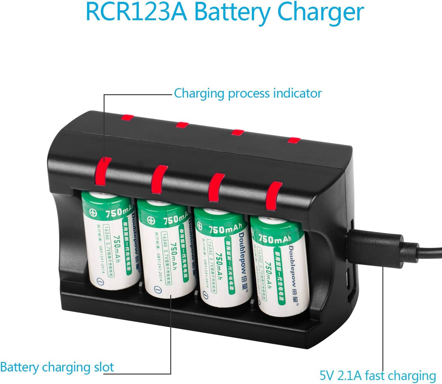 BEESCLOVER 8 Ports RCR123A Battery Charger 16340 1635016360 3.7V Arlo Charger for ce