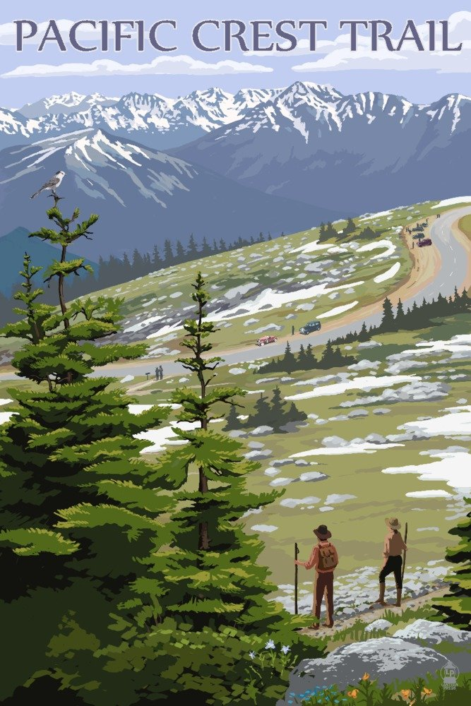Pacific Crest Trail and Hikers (12x18 Fine Art Print, Home Wall Decor Artwork Poster)