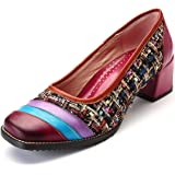 gracosy Leather Pumps for Women, Block Heel Pumps Round Toe Slip On Mid Heel Handmade Printing Splicing Shoes