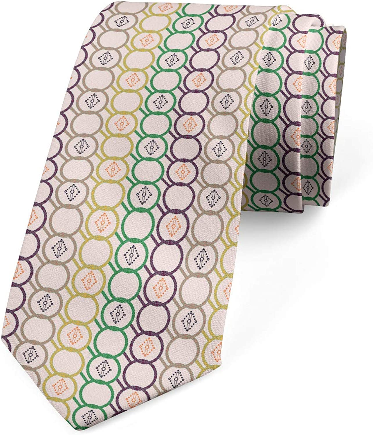 3.7 Ambesonne Mens Tie Pale Eggshell Multicolor Horizontal Linked Chain