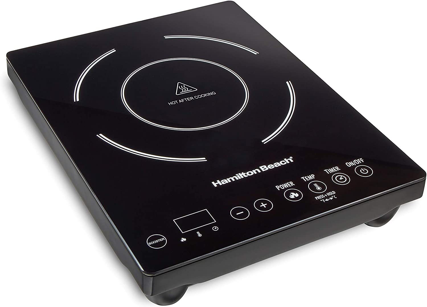 "Hamilton Beach 34104 Single Induction 1800 watt Cooktop, Heats 40% faster, Versatile Pan Size (4""-10""), Black"