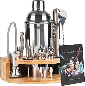 DEKINMAX Bar Set Bartender Kit -12 Pieces Stainless Steel Tool Cocktail Shaker Set Including Martini Shaker Jigger Strainer Mixer Spoon Tongs Bottle Opener Liquor Pourer Bottle Stopper