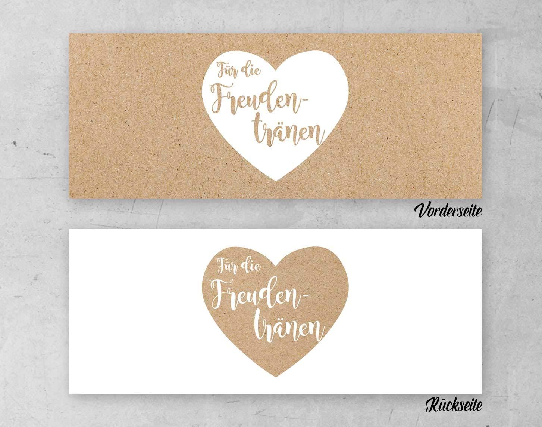 50 St/ück Papierbanderolen Freudentr/änen Taschent/ücher Hochzeit Kraftpapier Herz
