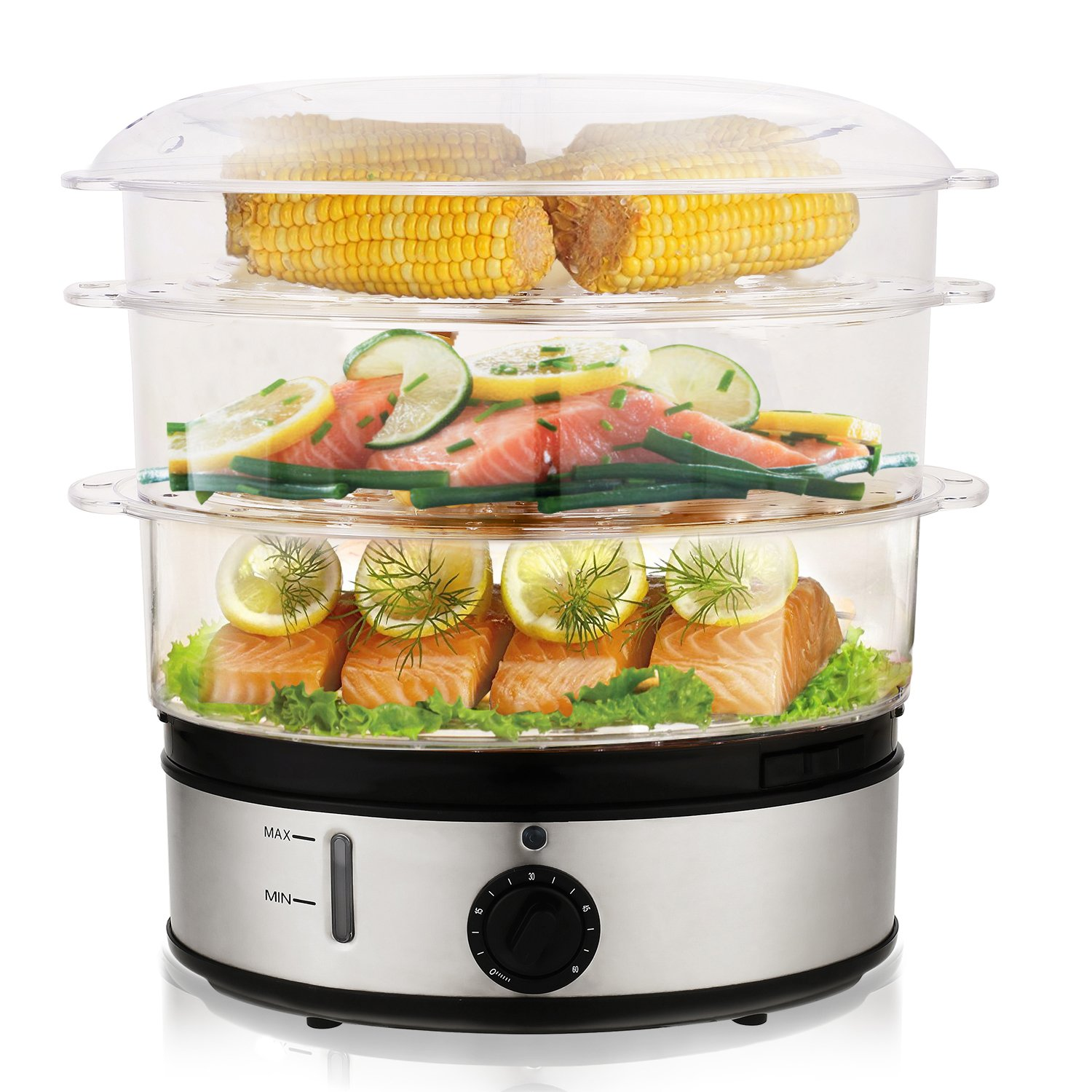MeyKey Electric Food Steamer with Timer, 9.5 Quart 3-Tier 800W Fast Heat-up for Meat, Vegetable, Egg and Rice, Stainless Steel