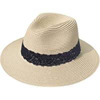 ef3266b3353879 Lanzom Women Wide Brim Straw Panama Roll up Hat Fedora Beach Sun Hat UPF50+