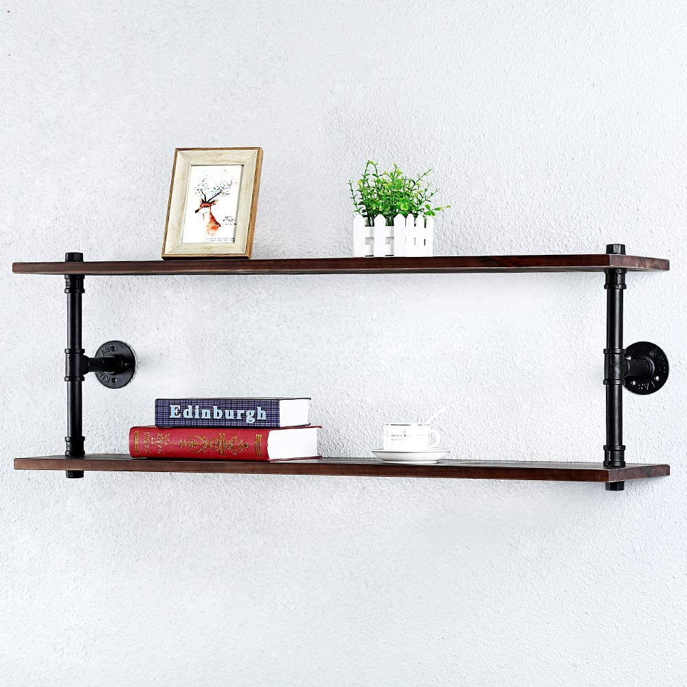 Industrial Pipe Shelf Wall Mounted,Steampunk Real Wood Book Shelves,2 Tier Rustic Metal Floating Shelves,Wall Shelving Unit Bookshelf Hanging Wall Shelves,Farmhouse Kitchen Bar Shelving(42in)