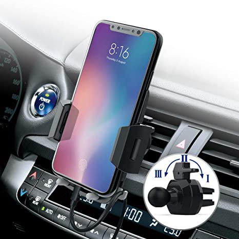 Nero Scuro Supporto Auto Smartphone Avolare Supporto Smartphone per Auto Universale Porta Cellulare Telefono Holder Bocchetta d/'Aria 360/° Rotazione Per Huawei//Samsung//iPhone//OnePlus//LG ecc