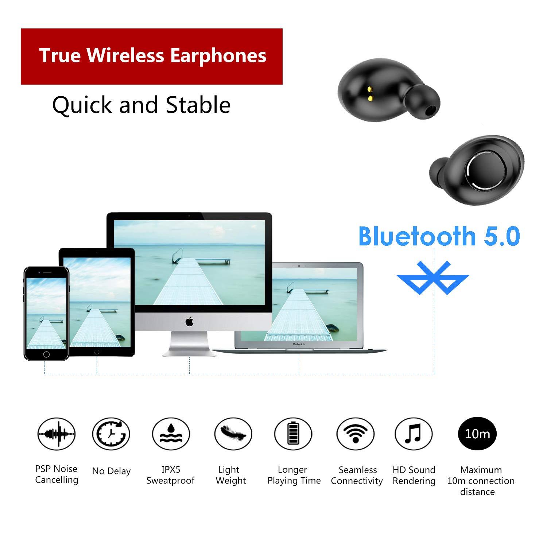 AOGUERBE Auriculares Inalámbricos Bluetooth 5.0 Wireless Bluetooth Dual In-Ear Earbuds Mini TWS Auto Headphones IPX5 Sport Earphones Stereo Auricular ...