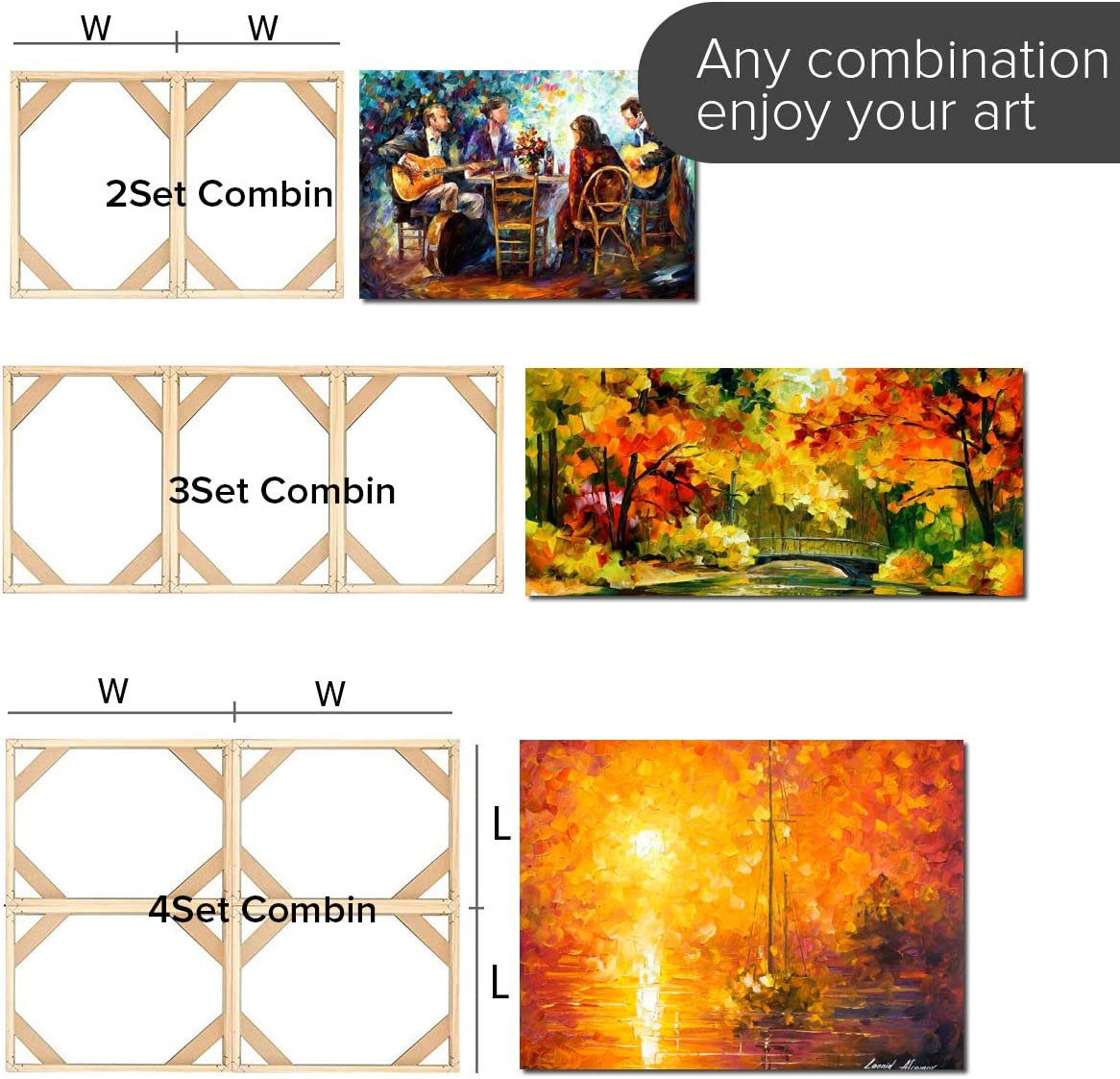 10x10 inch La Vane Customized Wooden Art Frames Picture Accessories for Oil Painting /& Home Bar Cafe Photo Poster Wall Art 25x40cm DIY Solid Wood Canvas Frame Kit