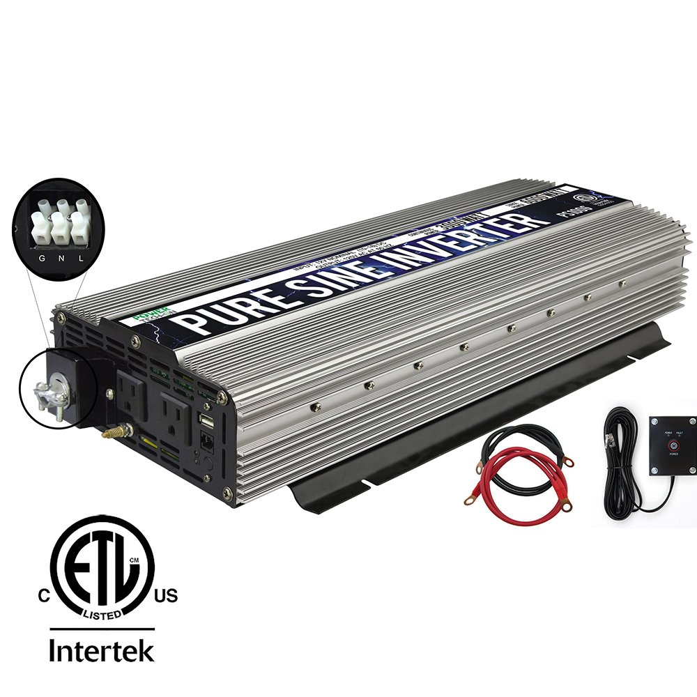 Power TechON 3000W Pure Sine Wave Power Inverter + Hardwire Terminal 12V to 120V AC with 2 Output Sockets, 1 5V USB Port, 4 Battery Cables, and Remote Switch (6000W Peak) PS1006