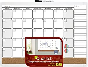 "Quartet Dry Erase Board / Cork Board, Calendar Board, Magnetic, 17""x 23"", 1-Month Design with List, White Frame (79380-WT)"