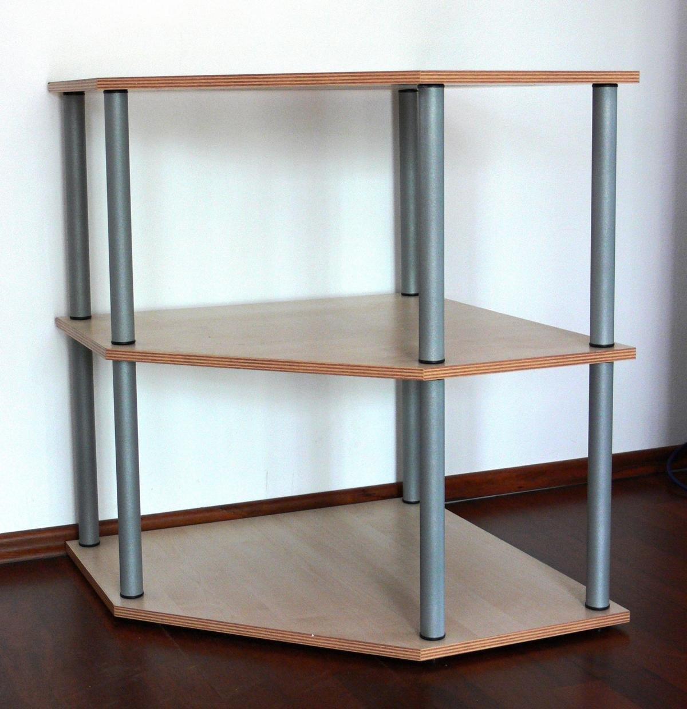 Eck -Wohnregal 74 x 60 x 60 cm Ahorn/Buche, Stahlrohr silber, 3 ...
