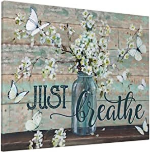 Rustic Wall Art Flower In Vase Just Breathe Canvas Print Butterfly Botanical Painting Farmhouse Country Artworks Home Decor For Bathroom Living Room Bedroom Kitchen Office Framed Ready To Hang 16x20 Inch