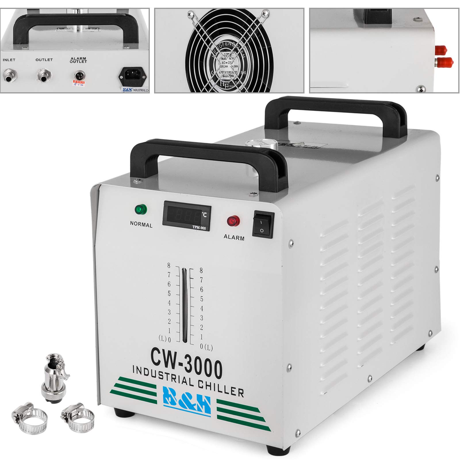 Mophorn Water Chiller 9L Capacity Industrial Water Chiller CW-3000DG Thermolysis Type Industrial Water Cooling Chiller for 60W 80W Laser Engraving Machine (CW-3000DG 9L) by Mophorn