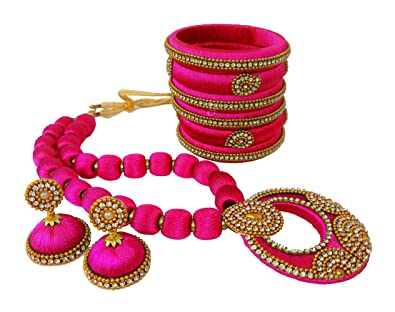 4ef5d110b4 Buy Youth Pink Fabric Necklace With Bangle Set For Women's Online at Low  Prices in India | Amazon Jewellery Store - Amazon.in