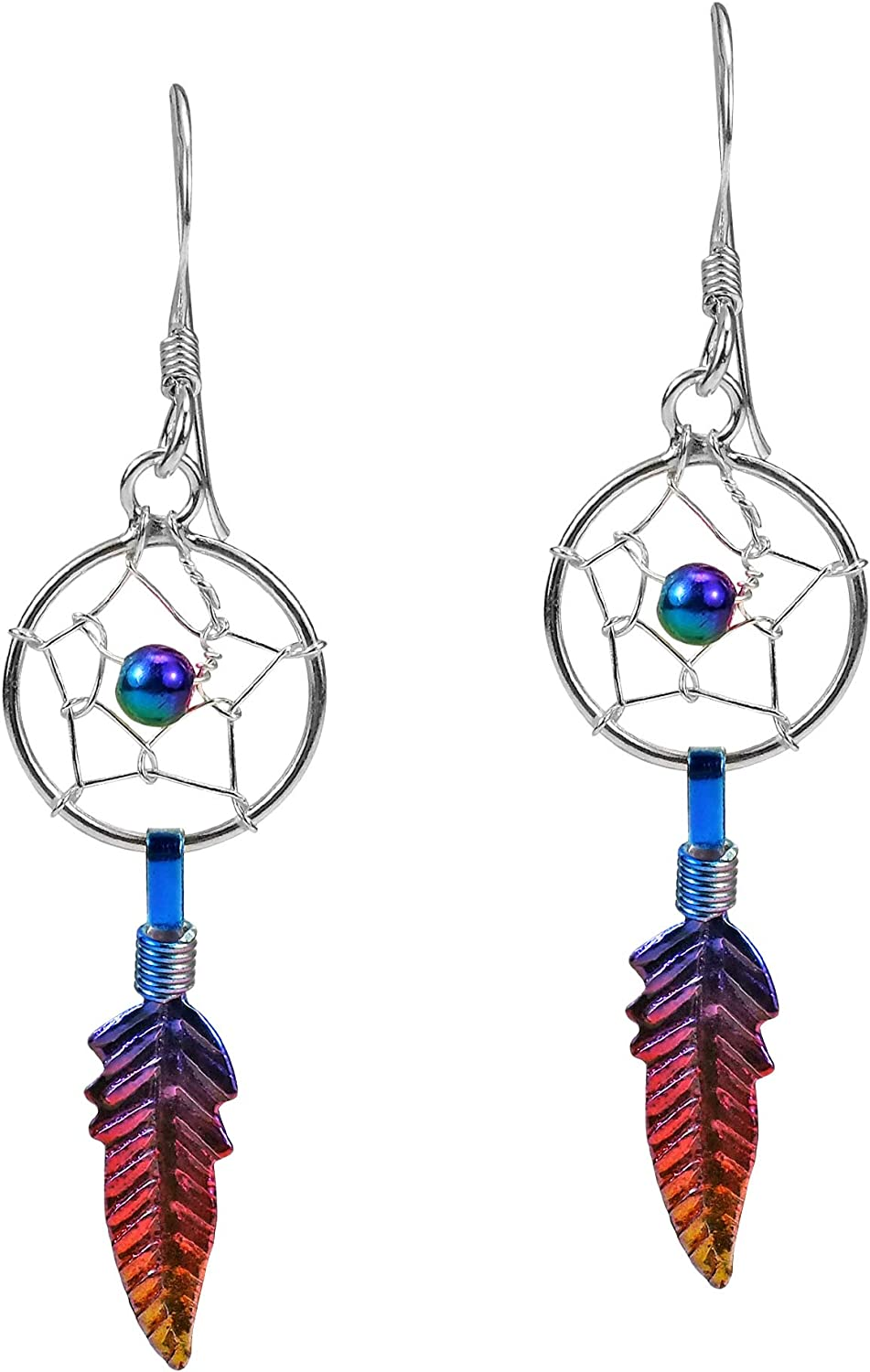 Earrings dreamcatcher hooks or clips dream catcher spiral multicolor Rainbow and colorful beads