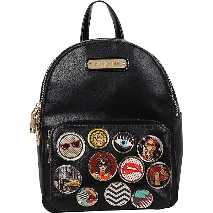 Nicole Lee Maarii Button Studded Fashion Small Backpack (Black) 3c192625dc604