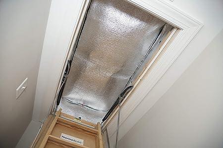 Bajo E reflectante espuma Pull Down para peldaños escalera ático Cubierta de acceso (25