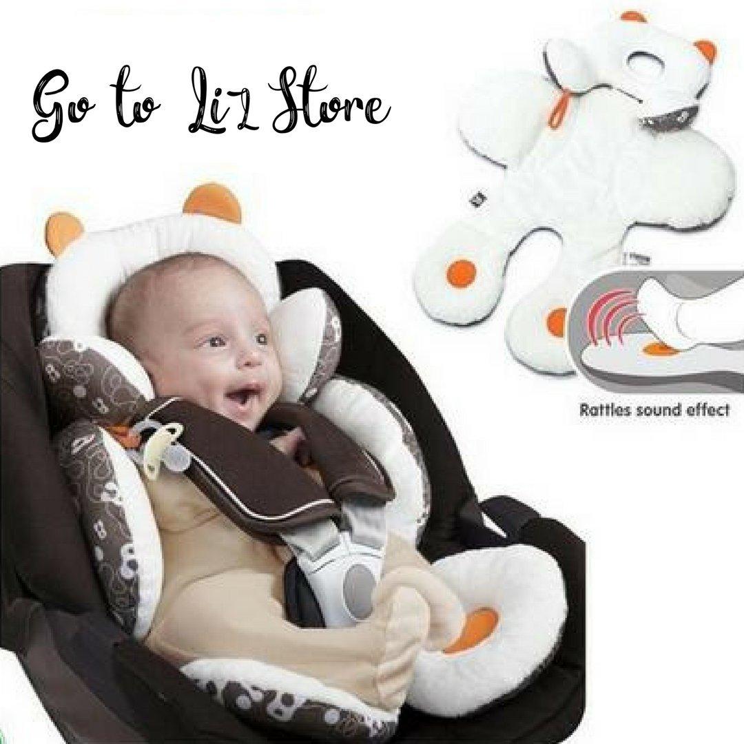 GOTOLIZ STORE - Adaptateur pour siège auto cosy pour bébé de 0-24M - Coussin Réducteur de siège auto, poussette, transat, chaise haute - Soutien de la tête et du corps de bébé - avec hochet intégré aux pieds - motif ourson GotoLizStore