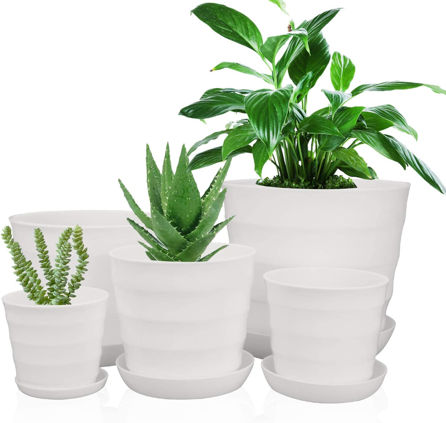 Plastic Plant Pots with Drainage Holes, Ufrount Gardening Containers, Flower Pots, Perfect for Garden/Yard/Kitchen/Flower/Succulents - Set of 10 (5 Sizes, Thread Shape)