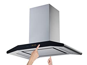 "Winflo New Elite 36"" Convertible Stainless Steel 800 CFM Island Mount Range Hood with Stainless Steel Sliencer Panel and Aluminum Filters, LED Lights and 2 Sides 5 Speed Touch Control Panels"
