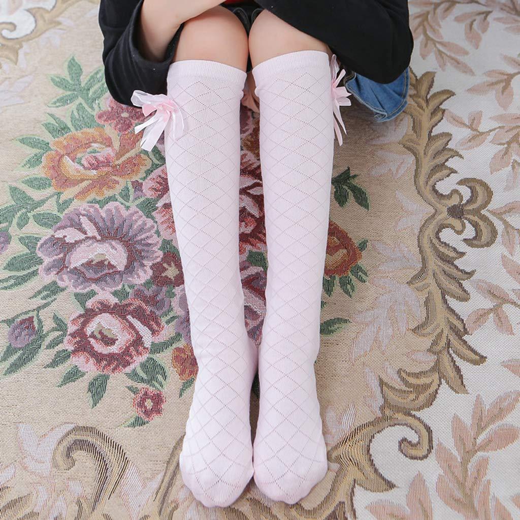 Calze Alte con Calzini Lunghi al Ginocchio con Farfallino a Forma di rombo Caldo per Bambina Studentessa Grigio Rtengtunn Pantaloni delle Calze