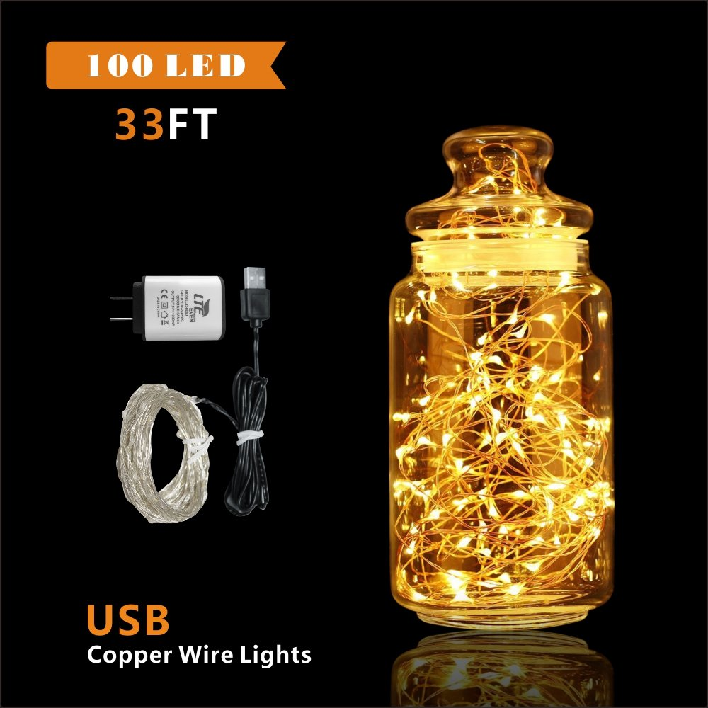 LTE 100 LED Copper Wire Lights, 33ft, Warm White, USB Powered for Halloween, Party, Wedding, DIY, Holiday Decoration