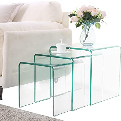 Mecor Glass Nesting Coffee Table Set Of 3 End Side Table Living Room Table  Sets Clear