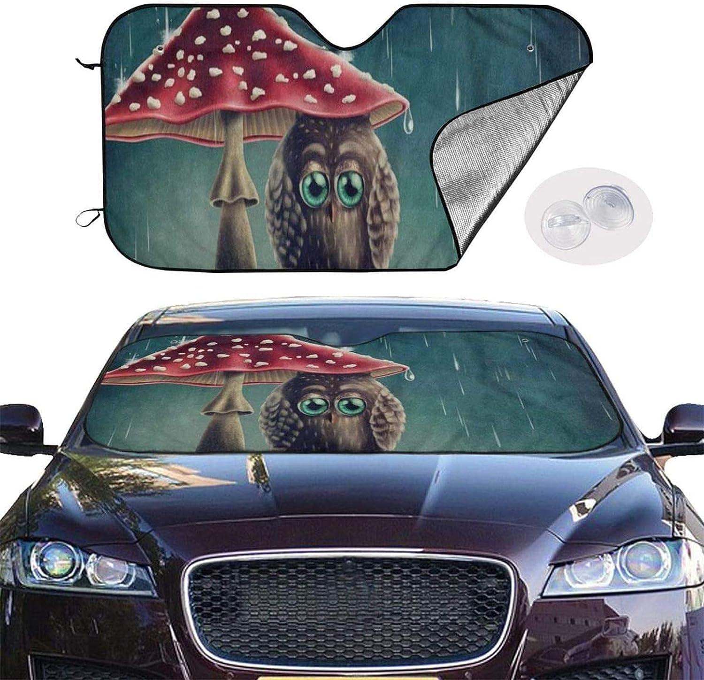 Romance-and-Beauty Windshield Sun Shade Visor Novelty Car Accessory Car Sun Shade UV Protector Shield Auto Window Windshield Cute Animal Owl Mushroom Rain51 X 28