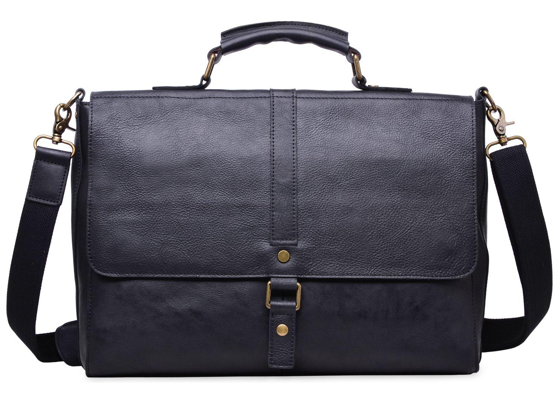 ALTOSY Vintage Genuine Leather Business Laptop Briefcase Office Shoulder Bag 8127 (Black)