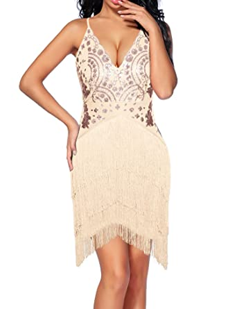 89d43d33bf Madam Uniq Women s Vintage Dress V Neck Backless Sequined Tassels Dance Club  Dresses (S
