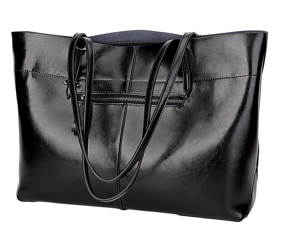 Covelin Women's Handbag Genuine Leather Tote Shoulder Bags Soft Hot Black