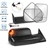 MOSTPLUS Towing Mirror Compatible for 1998-2002 Dodge Ram 1500 2500 3500 Power Heated Mirror w/Led Turn Light (Black)