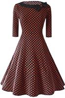 Babyonlinedress Robe de soirée/Cocktail Courte à Pois Rétro Vintage année 50 Style Audrey Hepburn Rockabilly Swing avec 3/4 Manches