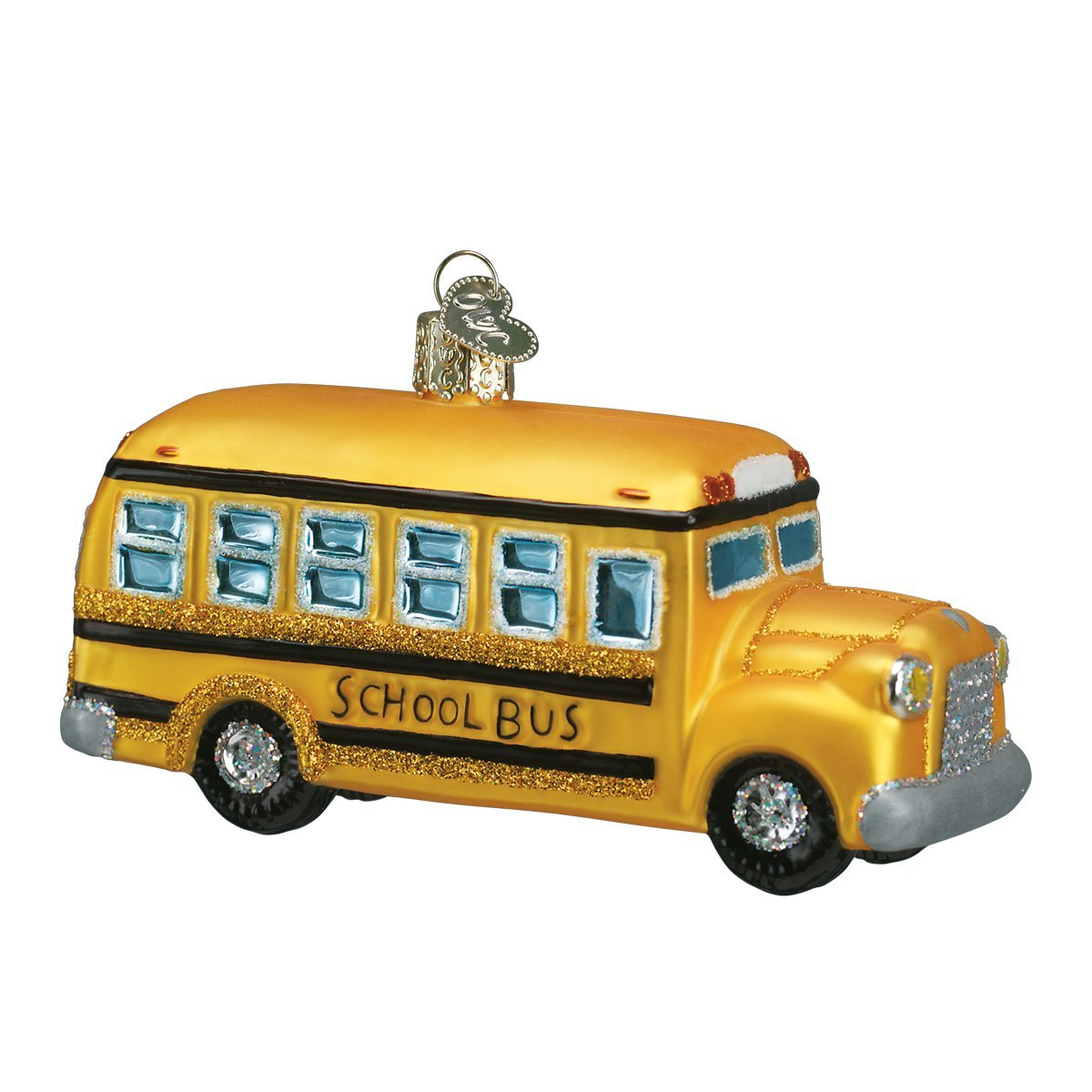 Old World Christmas Ornaments: School Bus Glass Blown Ornaments for Christmas Tree