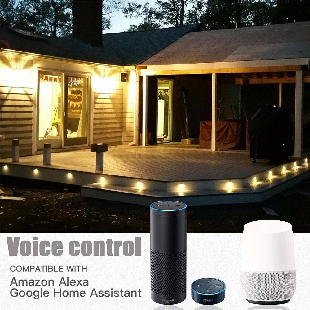 WiFi Deck Lights, FVTLED WiFi Controlled 20pcs Low Voltage LED Deck Lights Kit Φ1.38'' Outdoor Recessed Step Stair Warm White LED Lighting Work with Alexa Google Home, Silver by FVTLED (Image #5)
