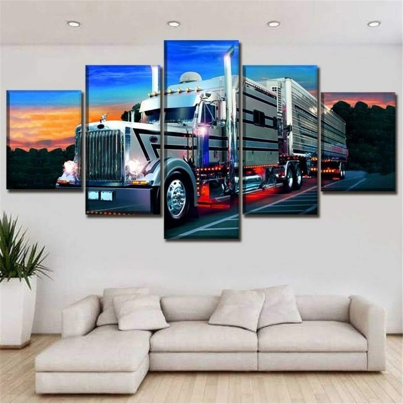 Art print POSTER CANVAS Semi Truck Driving Along Mountain Highway